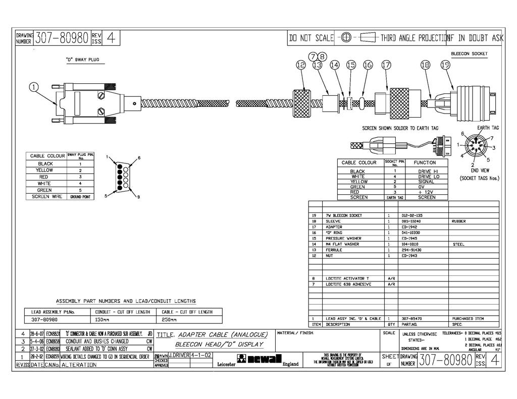 newall dro 9 pin to 7 pin adapter cable 307