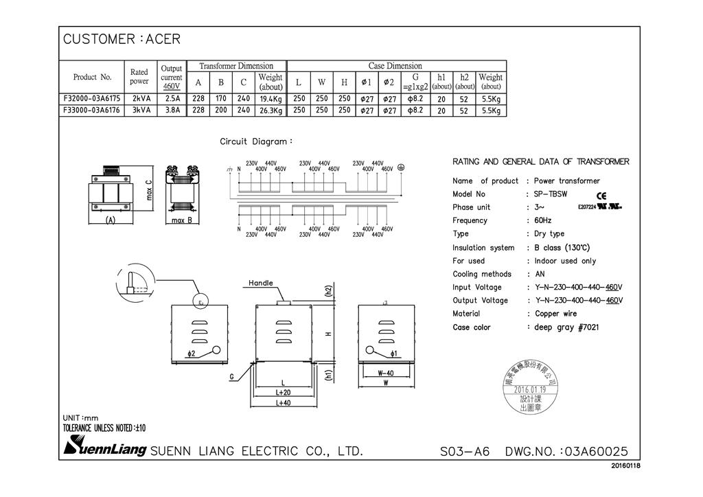 3 Phase Isolated Transformer 3kva In  Out  230v  400v  440v  460v F33000