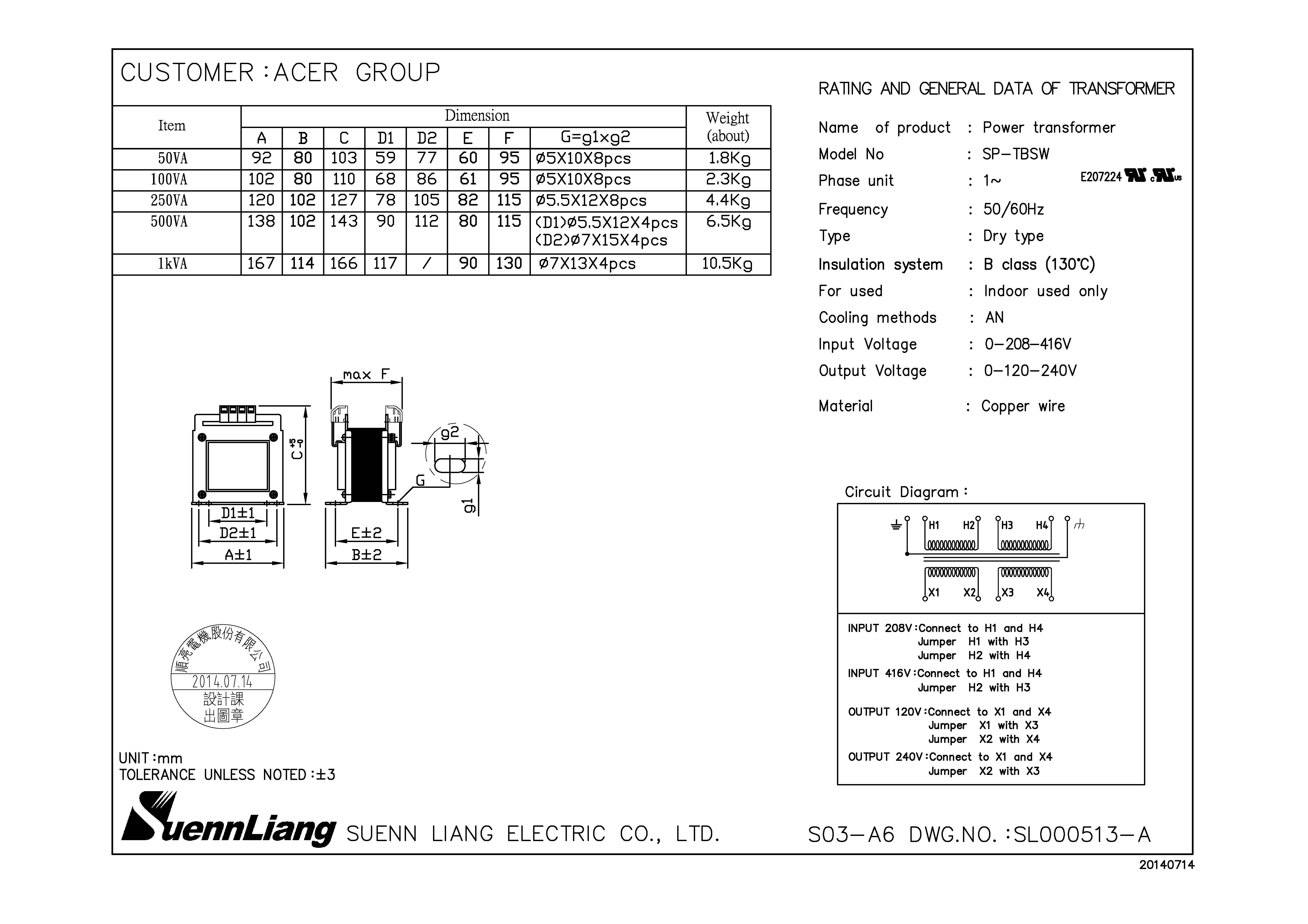 f11000 60 hz input  208  416v