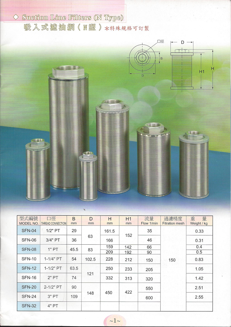 """Hydraulic Suction Line Filters SFN-04 1//2/"""" PT N Type"""